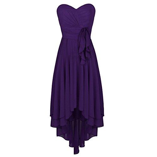 MSemis Women Sweetheart Chiffon Strapless Hi-Lo Bridesmaid Dresses Formal Prom Evening Gown Purple 6
