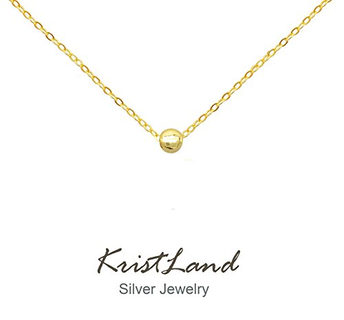 KristLand - 925 Silver Adjustble Necklace Simple Design Circle Form Heart Pendant Delicate Chocker Bean Gold - Necklace Gold Pendant Circle Heart