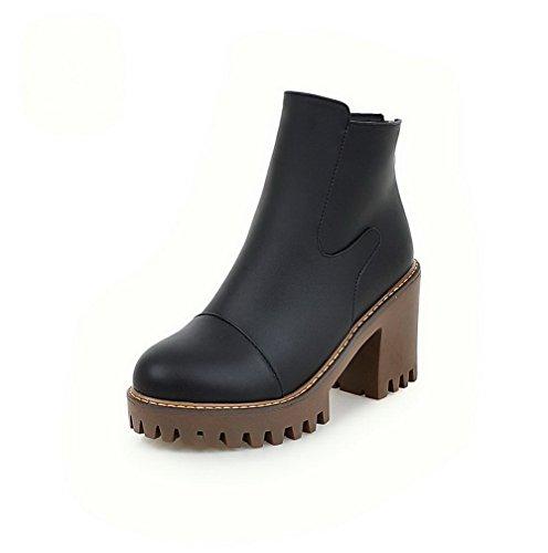 Toe High Black Heels Women's Solid Round Closed Zipper PU Boots AgooLar ta8vA6qwt