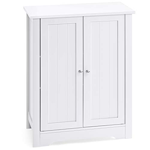 AOOU Bathroom Floor Cabinet, Storage Cabinet for Bathroom with Double Door Adjustable Shelf, Free Standing Storage Cabinet, White