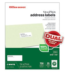 Office Depot(R) Brand 100% Recycled Mailing Labels, 505-O004-0027, Address, 1in. x 2 5/8in., White, Box Of 750