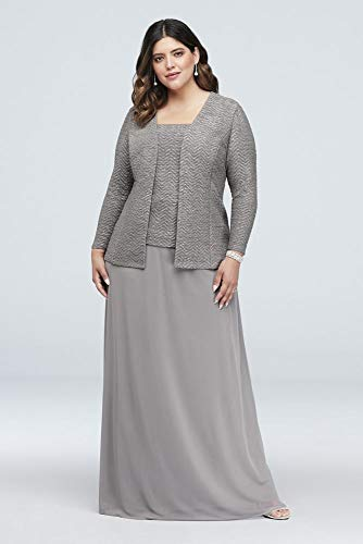 excellent quality quality first discount shop Glitter Knit and Mesh Plus Size Mother of Bride/Groom Gown with Jacket  Style.