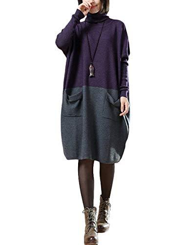 Colori Vestiti Alto Abbigliamento Elegante Pullover Camicetta Misti Libero Collo Autunno Primaverile Moda Tempo Felpe Purple Doona Manica Baggy Lunga A 8ww7v4