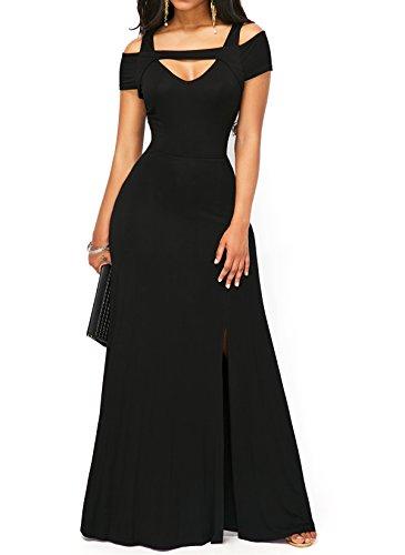 Cuello Sexy S Vestido en frío Falda V KISSMODA Maxi de con negro Hombro de Las Moda Mujeres del Formal de de 0CddxH