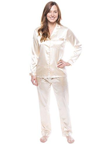 Twin Boat Conjunto Pijama de Satín para Mujer Vanilla