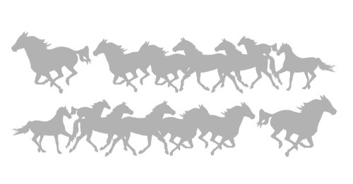 Decal Graphic Kit, Both Sides Left & Right - Running Horses Large For Cowboy Or Cowgirl Stable Truck, 4x4, Or Horse Trailer - 7 1/2 x 36 inches In Silver