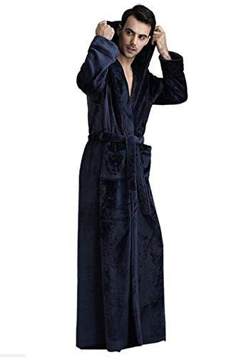 Haidean Invierno Pijamas Largo Casual Loungewear Albornoz Otoño Cálida Los Color Sólido Hombres Capucha Con Bata Modernas Azul Franela Inicio De Baño wtrqt5nS