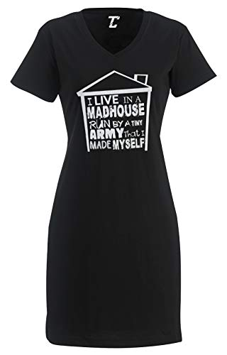 I Live in A Madhouse - Funny Mother's Day Women's Nightshirt (Black, Large/X-Large)