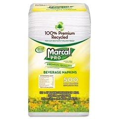Premium Recycled Beverage Napkins, 1-Ply, 9.75 x 9.5, White, 500/Pack (Marcal Beverage Napkin)