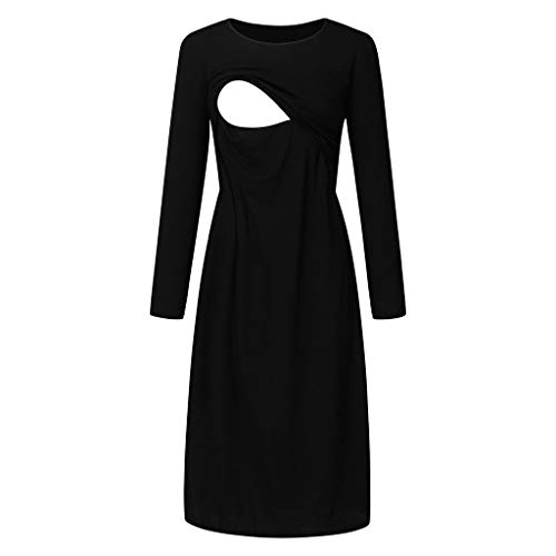 Maternity Nursing Dress,Crytech Solid Color Long Sleeve Double Layer Knee Length Midi Dress for Breastfeeding Pregnancy Loose Casual Sleepwear Nightgown Casual Clothes (Large, Black)
