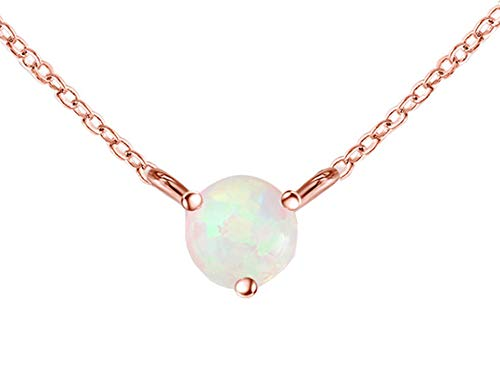 QUINBY Dainty Gold Necklace for Women, 14K Rose Gold Plated Chain Necklace with Created Opal