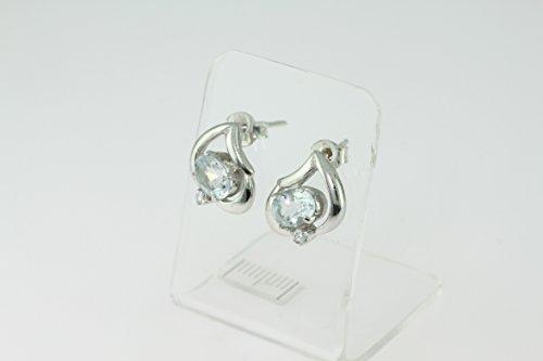 Boucles d'oreilles en Aigue-marine Ef 39 - Bijoux en argent rhodié et Aigue-marine - Diverses pierres possible - ARTIPOL