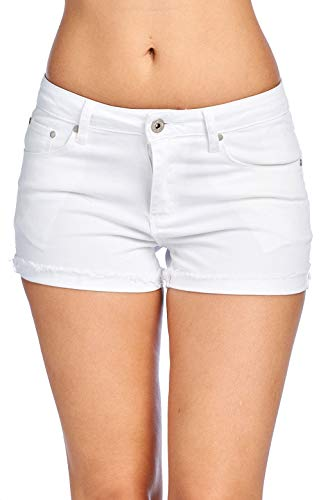 ICONICC Women's Jean Shorts with Frayed Hem Distress Denim (SP7050_WHT_S)