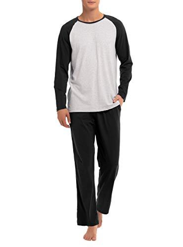 (David Archy Men's Cotton Raglan Sleepwear Long Sleeve Top & Bottom Pajama Lounge Set (XL, Black))