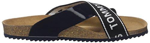 Tommy Jeans Women's Flat Cork Platform Sandals, Silver Blue (Midnight 403)