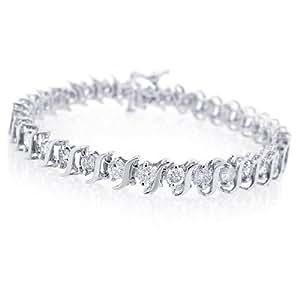 "1.00ct TDW Diamond S-Link Tennis Bracelet in 14K White Gold- 8"" (I-J, I2-I3)"