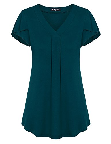 Miagooo Loose Fitting Tops for Women for Summer, Cap Sleeve Tshirts Tunic Tees for Women(Lack Blue,Medium)