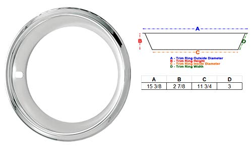 Eagle Flight 14'' Deep Dish Triple Chrome Plated Stainless Steel Trim Rings with Stepped Edge fits 7'' Wide Factory and Aftermarket Wheels (SS, Olds and Pontiac Style, Set of 4) by Eagle Flight