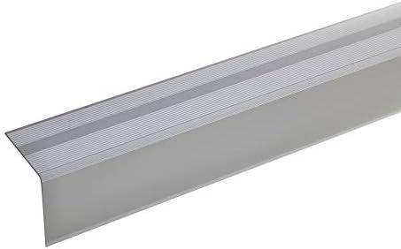 acerto 51128 Perfil angular de escalera de aluminio - 135cm 42x40mm plateado * Antideslizante * Robusto * Fácil instalación | Perfil de borde de escalera perfil de peldaño de escalera: Amazon.es: Bricolaje y herramientas