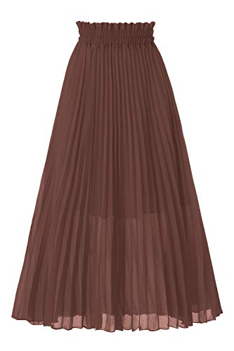 - Musever Women's Pleated A-Line High Waist Swing Flare Midi Skirt Brown Large/X-Large