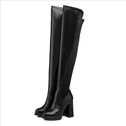 Botas de tela elástica botas alta gruesa - talón botas de moda botas de otoño e invierno black