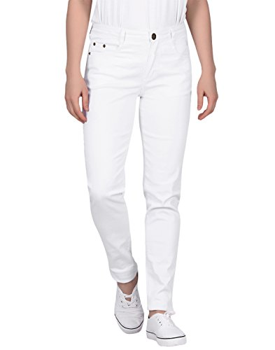 - HDE Women's Mid-Rise Stretchy Denim Slim Fit Skinny Jeans (White, Large)