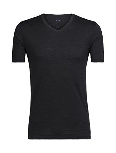 Icebreaker Merino Men's Tech Lite Short Sleeve V-Neck Shirt, Black, X-Large ()