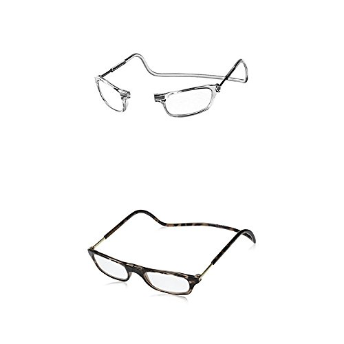 CliC Adjustable Front Connect Reader 2X - Two Pack (Clear and Tortoise) by CliC