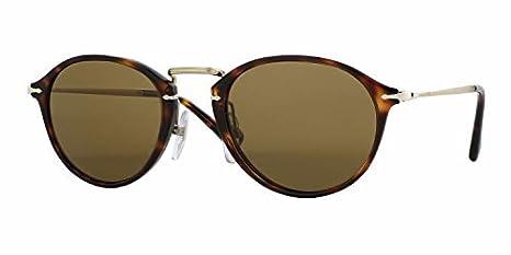 Persol Unisex Sonnenbrille PO3046S, Gr. Small (Herstellergröße: 49), Schwarz (Gestell: Gläser: grün-klar polarisiert 95/58)
