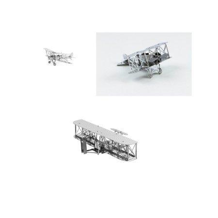 (Set of 3 Metal Earth 3D Laser Cut Airplane Models: Wright Brothers, de Havilland Tiger Moth, & Fokker)