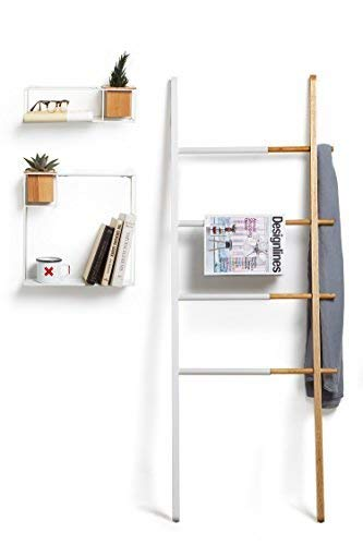 (Umbra Hub Ladder - Adjustable Clothing Rack for Bedroom or Freestanding Towel Rack for Bathroom | Expands from 16 to 24 inches with 4 Notched Hooks, Black/Walnut)