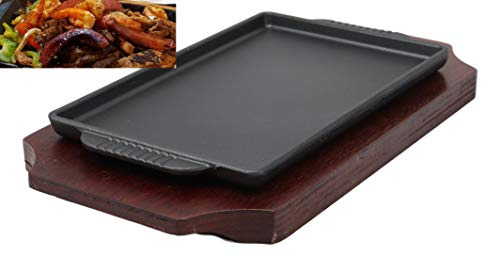 "Ebros Personal Size Cast Iron Sizzling Fajita Pan Skillet Japanese Steak Plate With Wood Underliner Base Restaurant Home Kitchen Cooking Supply (Rectangular 9.25""L X 5.25""Wide)"