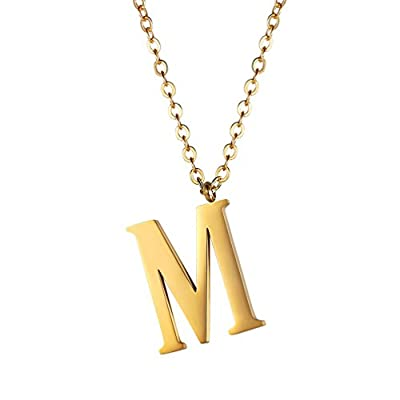 Initial Letter Necklace,Alphabet Name Jewelry,Men/Women,Personalized Groomsman Bridesmaid gift,Wedding Minimalist Bridal Party Graduation Gift,Stainless Steel,18K Gold Plated