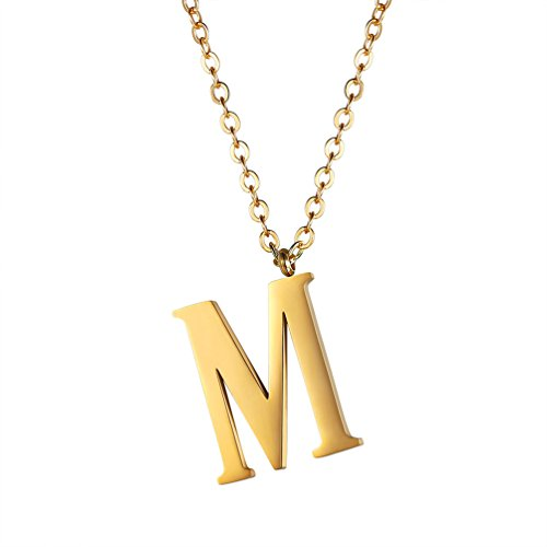 Initial Letter M Necklace,Alphabet Name Jewelry,Men/Women,Personalized Groomsman Bridesmaid gift,Wedding Minimalist Bridal Party Graduation Gift,Stainless Steel,18K Gold Plated,P2813J by PROSTEEL
