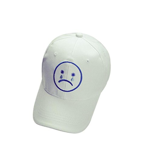 oksell-cotton-pattern-embroidery-snapback-unisex-hiphop-hat-stretchy-baseball-cap-crying-face-white