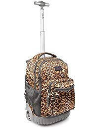 Tilami Rolling Backpack 18 Inch for School Travel, Leopard Brown