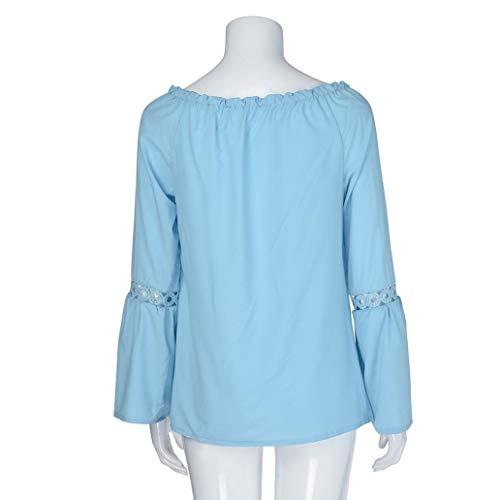 Longue Lin Vetement Florale Femme 4 SANFAHSION Travaille Hiver Tops Basique Chic V Bleu Automne Manche Casual Habite Haut Col Chemise Mode Shirt Tee pq7vS