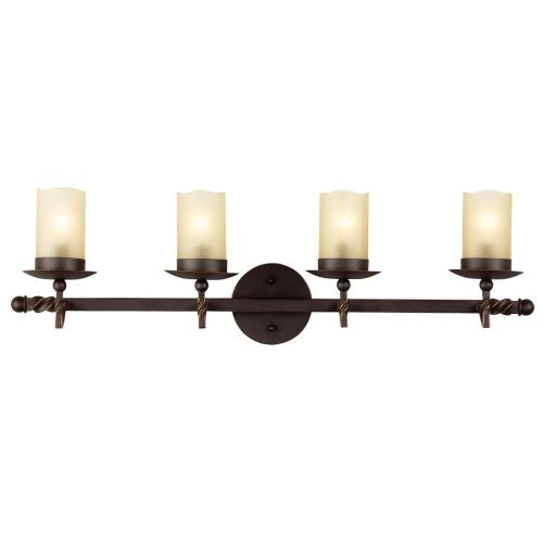 Sea Gull Lighting 4410604-191 Trempealeau Four-Light Wall/Bath with Champagne Seeded Glass, Roman Bronze Finish by Seagull