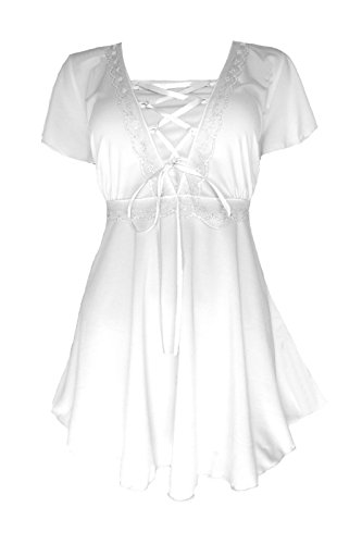 Dare to Wear Victorian Gothic Boho Women's Plus Size Angel Corset Top White/White 3X Sweet Angel Shirt