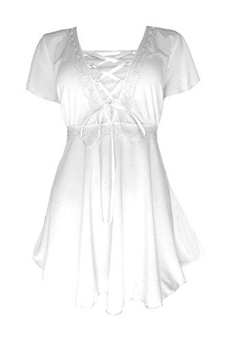 Dare to Wear Victorian Gothic Boho Women's Plus Size Angel Corset Top White/White - Burlesque Peasant Corset