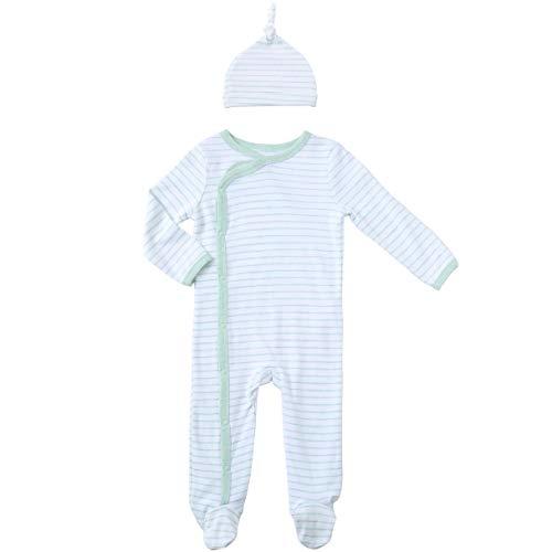 - Asher and Olivia Long Sleeve Creeper Pajamas Boys Footies Sleeper Cap Mint Onesie 6-9 Months