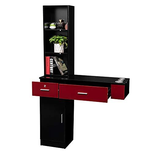 Mefeir Wall Mount Hair Styling Barber Station, Spa Furniture Set, Hair Salon Equipment, 2 Drawers+1Cabinet+3 Shelves (Black&Red)