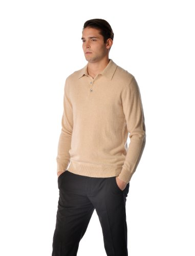 Cashmere Polo - Men's Pure Cashmere Polo Sweater (Black, Extra Large)