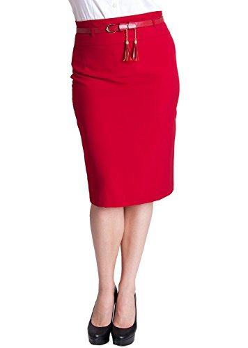 Woman Red Plus Size Tassel Belt Zipper Back Pencil Skirt