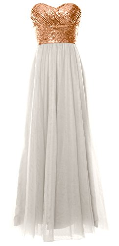MACloth Women Long Bridesmaid Dress Strapless Sequin Wedding Party Formal Gown Rose Gold-Ivory wo8GRv