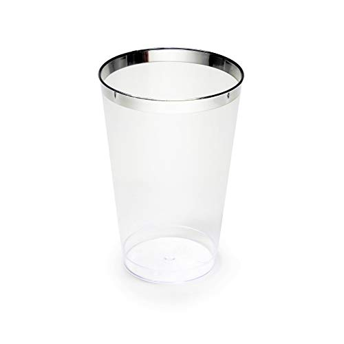 (OCCASIONS Wedding Party Disposable Plastic Tumbler Cups (Silver Rimmed, 14 Oz Tumbler, 200)