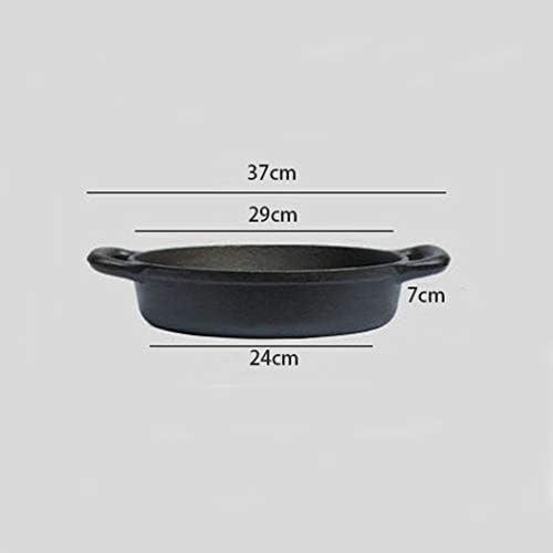 Poêle à frire en fonte noire anti-adhésive avec double oreilles pour steak au plat 29 cm (longueur x hauteur)