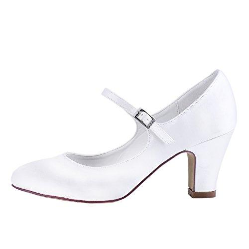 Eleganti Scarpe Da Donna Pompe Chiuse Scarpe Tacco Alto In Raso Bianco Con Fibbia Sul Tallone