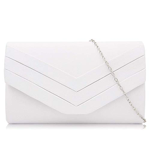 (Milisente Clutch Purses for Women Velvet Envelope Evening Bags Classic Shoulder Clutch Purse (White))