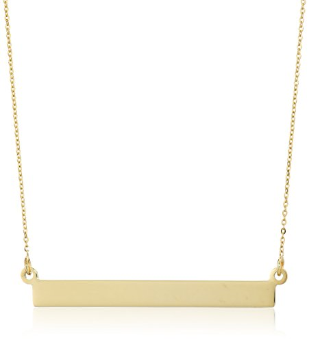 14K Yellow Gold Flat Bar Rolo- Chain Necklace, 18